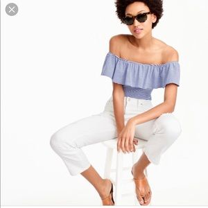 J Crew Short Sleeved Striped Ruffle Bodysuit